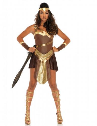 Déguisement combattante gladiatrice dorée femme