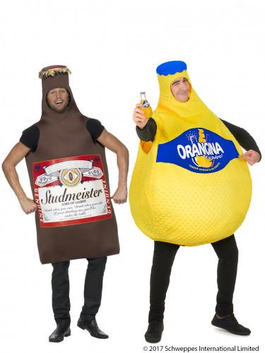 Déguisement de couple bouteille Orangina™ et bouteille de bière