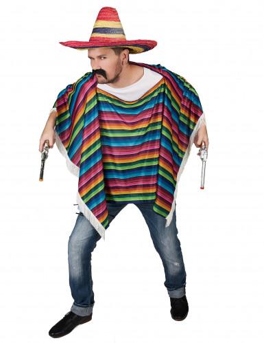 Poncho de Mexicain multicolore à franges adulte