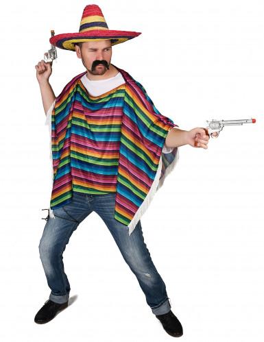 Poncho de Mexicain multicolore à franges adulte-1