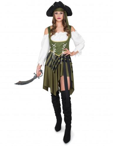 Déguisement Pirate flibustière vert femme-1