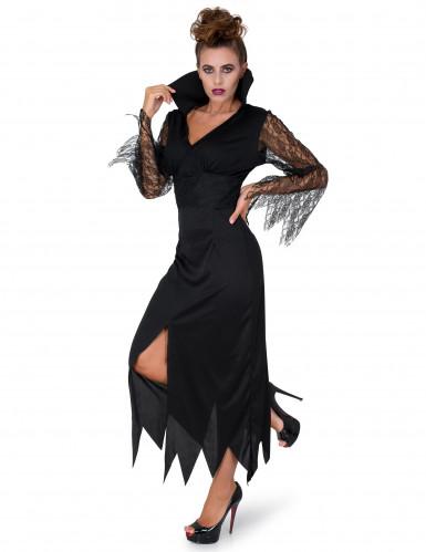 Déguisement sorcière dentelle noire femme