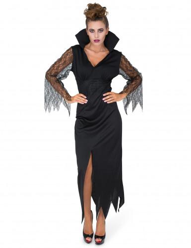 Déguisement sorcière dentelle noire femme-1