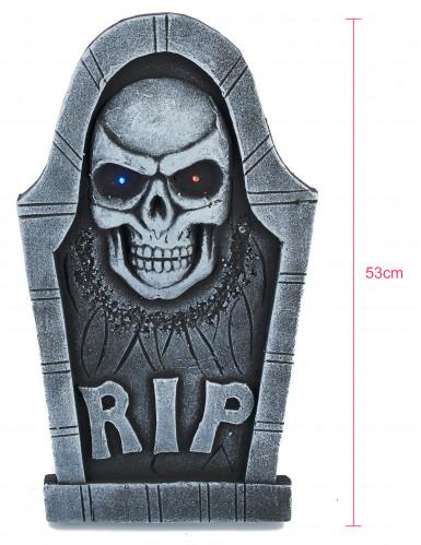 Décoration pierre tombale tête de mort lumineuse-1