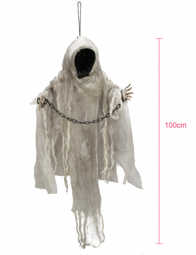 Décoration à suspendre squelette enchaîné lumineux Halloween 100 cm-1