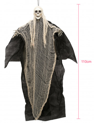 Décoration faucheuse noire et blanche à suspendre Halloween 110 cm-1