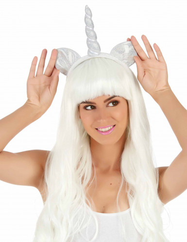 Serre-tête licorne argent avec oreilles adulte-1