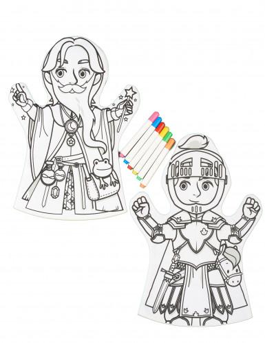 2 Marionnettes lavables à colorier et 6 feutres-1