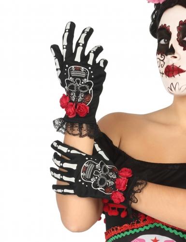 Gants courts squelette mexicain femme Dia de los muertos