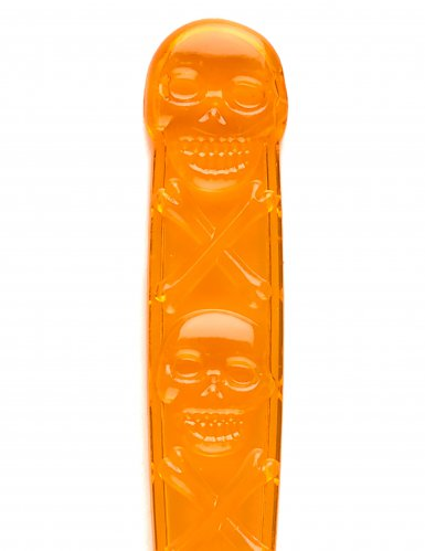 6 Cuillères oranges avec tête de mort Halloween 18 cm-1