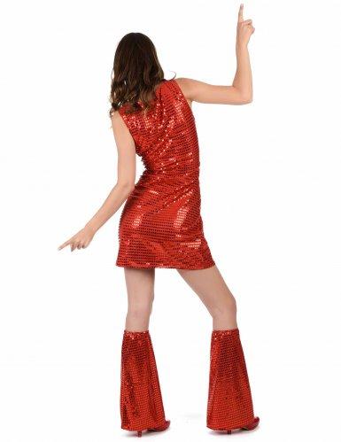 Déguisement Disco Rouge à Sequins Femme-2
