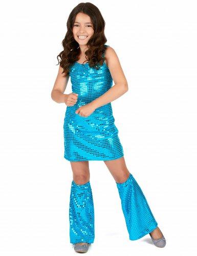 Déguisement Disco Turquoise à Sequins Fille-1