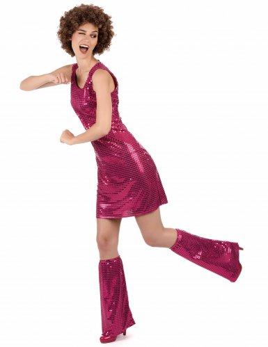 Déguisement Disco Fuchsia à Sequins Femme-1