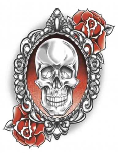 Tatouage ephémere corps Squelette & Roses adulte