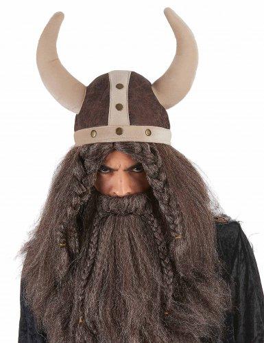 Casque viking souple marron adulte-1