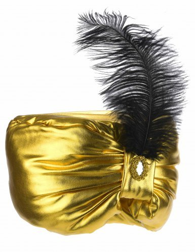 Coiffe sultan dorée avec plume adulte