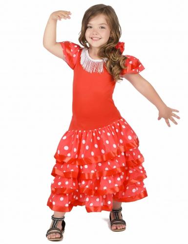 Déguisement Danseuse Flamenco Rouge à Pois Blanc Fille-1