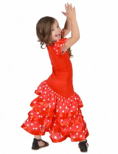 Déguisement Danseuse Flamenco Rouge à Pois Blanc Fille-2