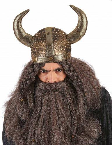 Casque viking souple métallisé adulte-1