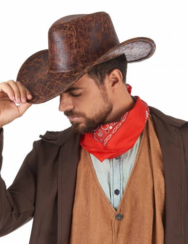 Chapeau de cowboy marron imitation cuir adulte-1