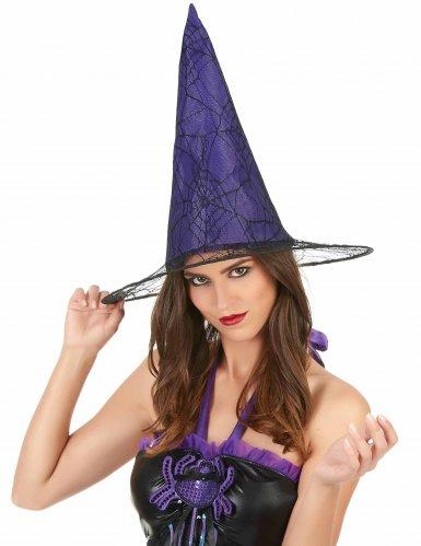 Chapeau sorcière violet toile araignée adulte-1