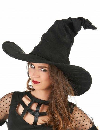 Chapeau sorcière velours noir adulte-1