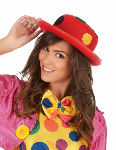 Chapeau melon rouge clown à pois adulte-1