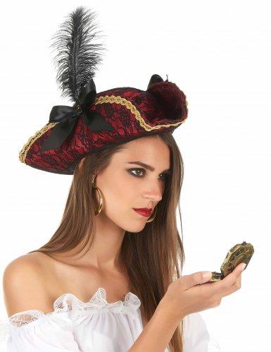 Chapeau de pirate rouge avec plume adulte-1