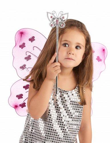 Baguette magique papillon rose adulte et enfant-1