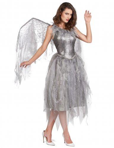 Déguisement ange baroque argenté femme-1