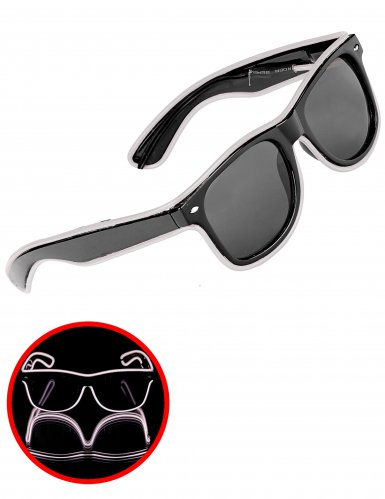 Lunettes années 50 lumineuses blanches adulte