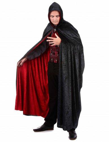Cape vampire velours rouge et noire réversible luxe adulte