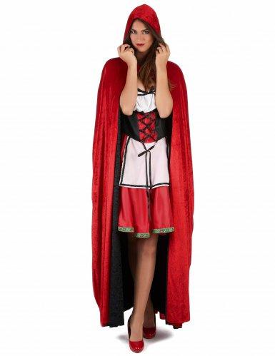 Cape vampire velours rouge et noire réversible luxe adulte-1