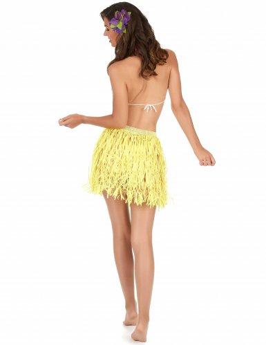 Jupe hawaïenne courte jaune papier adulte-1