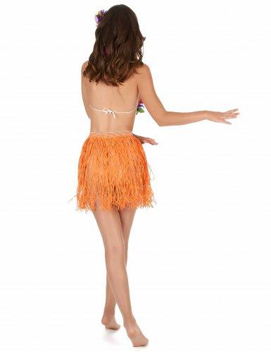 Jupe hawaïenne courte orange papier adulte-1