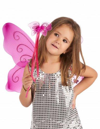 Ailes papillon roses et baguette magique assortie enfant-1