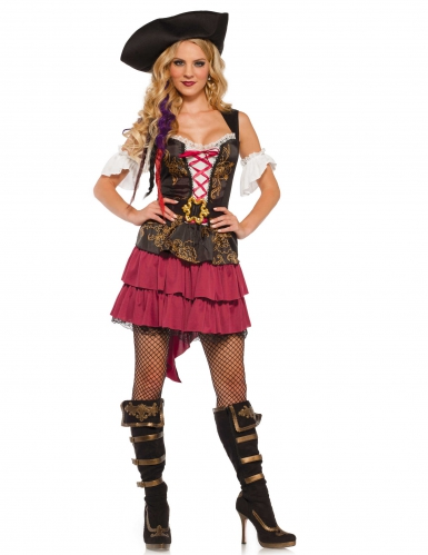 Déguisement pirate baroque sexy rose femme