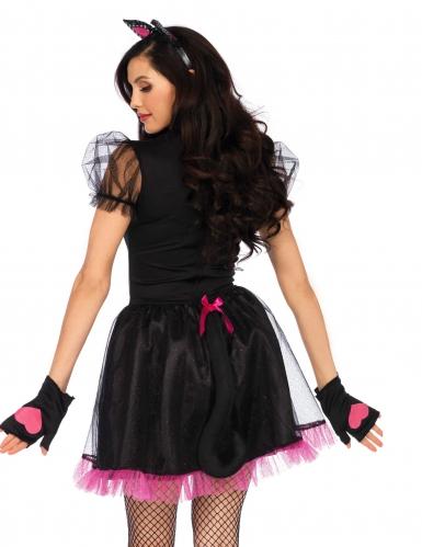 Déguisement chat rose et noir sexy femme-1