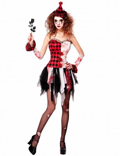Déguisement arlequin démoniaque femme Halloween