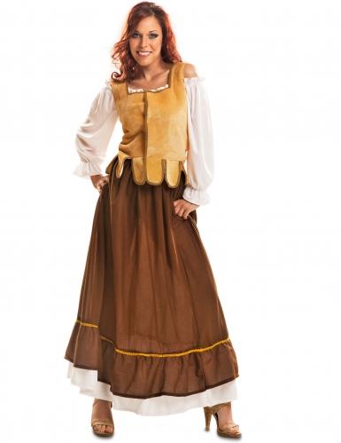 Déguisement tavernière médiévale jaune et marron femme