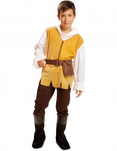 Déguisement tavernier médiéval jaune et marron garçon