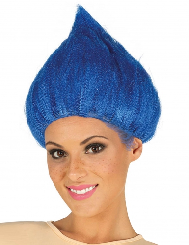 Perruque troll bleue adulte