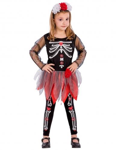 Déguisement squelette rouge et noir fille