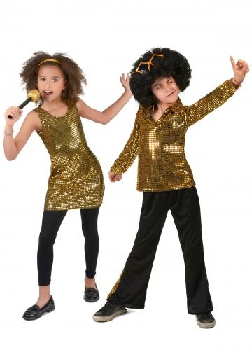 Déguisement de couple disco doré enfant