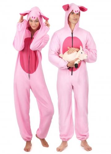 Déguisement de couple cochon rose adulte