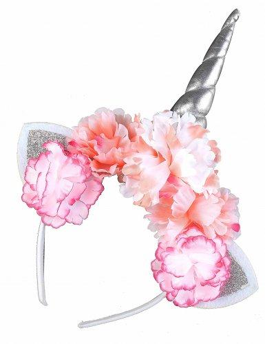 Serre-tête licorne avec pivoines roses adulte