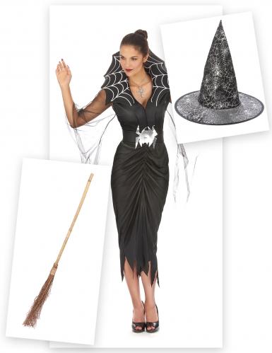 Pack déguisement sorcière araignée femme avec balai et chapeau Halloween