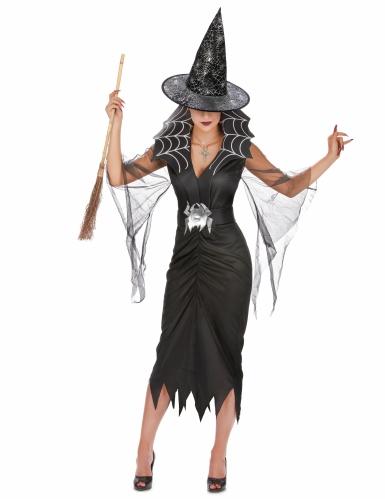 Pack déguisement sorcière araignée femme avec balai et chapeau Halloween-1