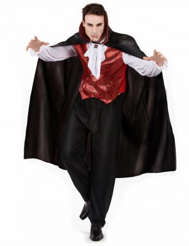 Pack déguisement vampire homme avec dents et faux sang Halloween-1
