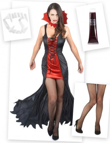 Pack déguisement et accessoires de vampire femme